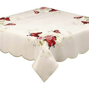Red Butterfly embroidered tablecloth