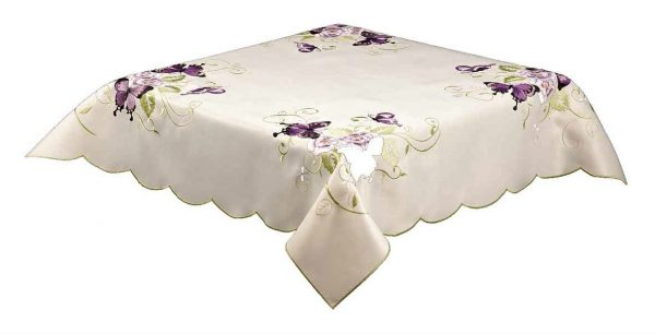 Purple Butterfly embroidered tablecloth