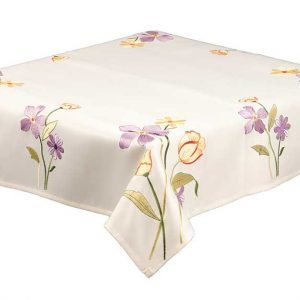 Joyce Floral Stems Tablecloth in Lilac and Gold
