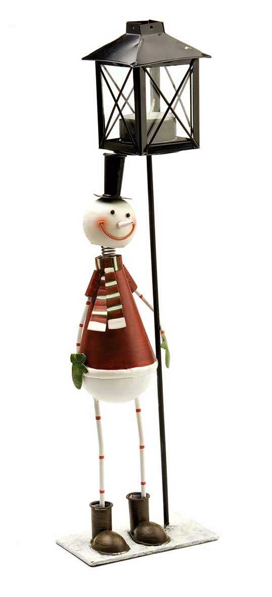 Snowman Standing Under Tealight Lamp Red 11 5x7x39cm