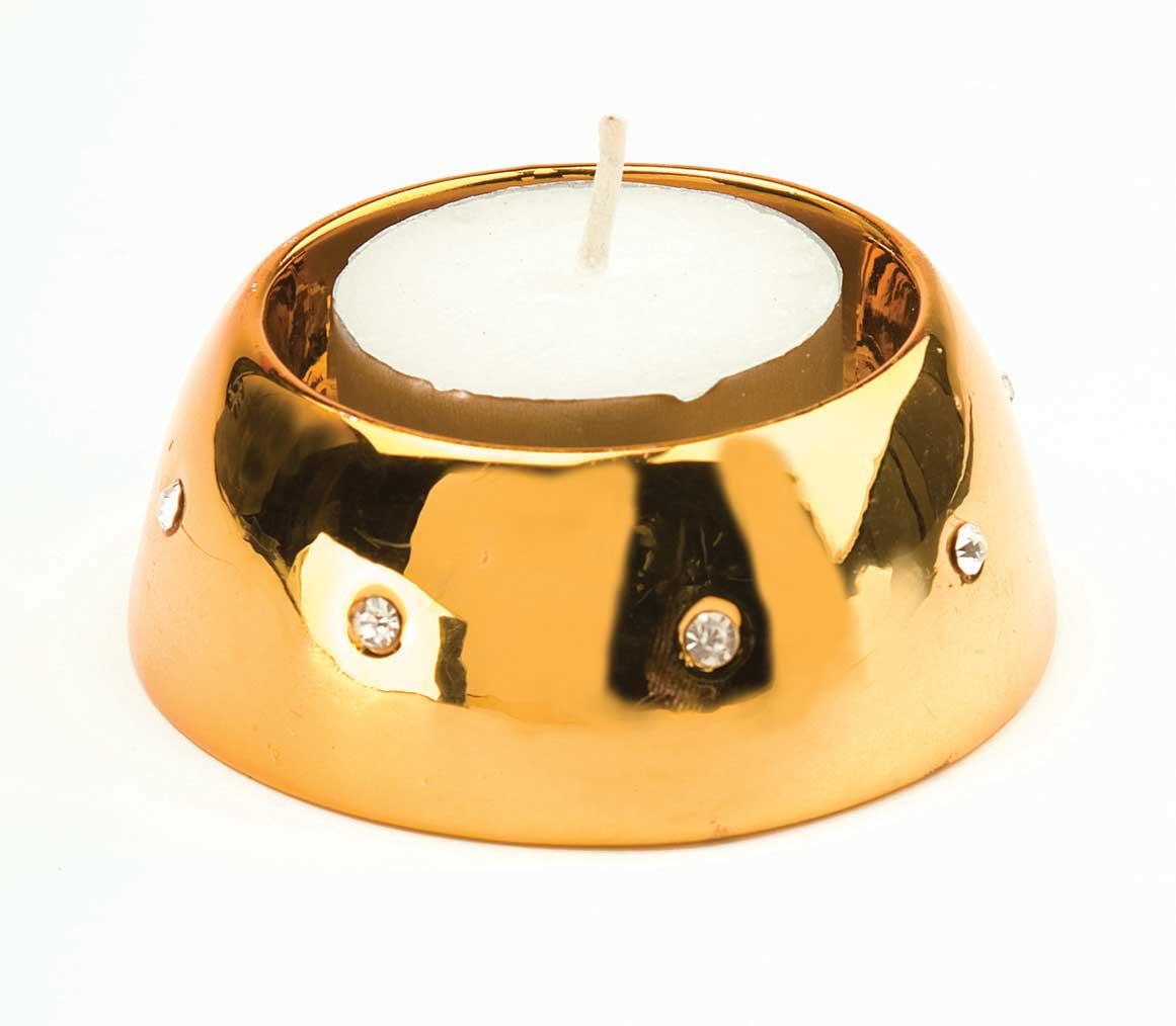 Porcelain Tea Light Holder Pair With Diamond Style