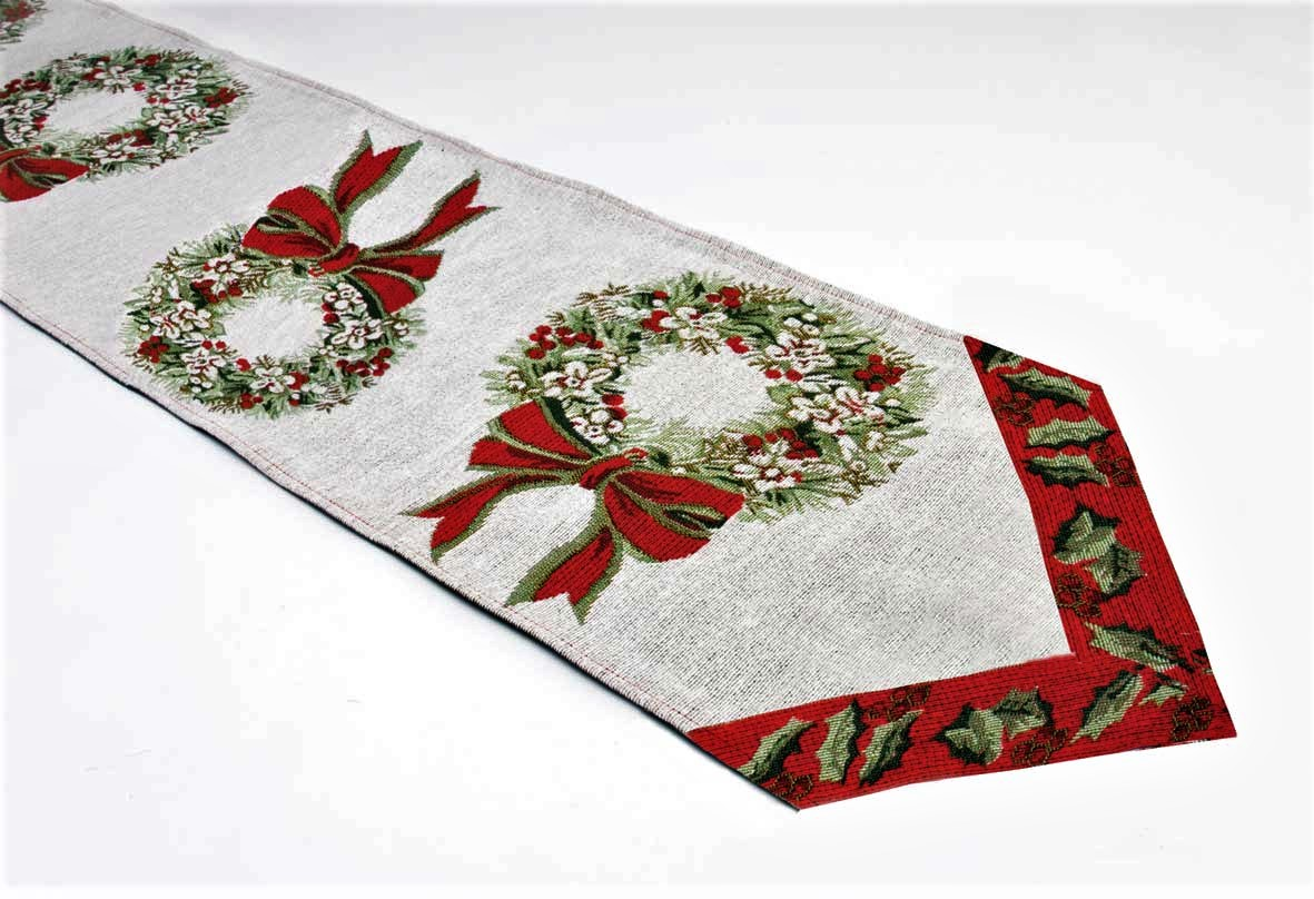Christmas Table Runner Uk.Tapestry Wreath Christmas Table Runner 32x183cm 13x72