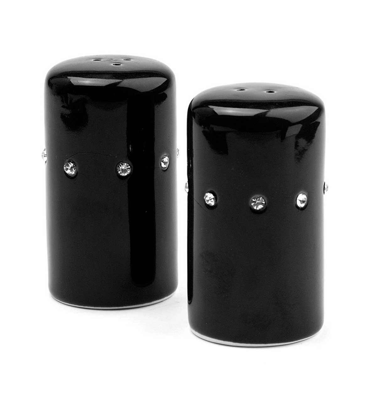 Porcelain Salt Amp Pepper With Diamond Style Surround Black