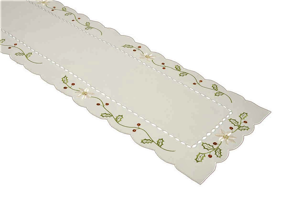 Christmas Table Runner Uk.Holly Berry Christmas Table Runner Cream 33x180cm 13x72