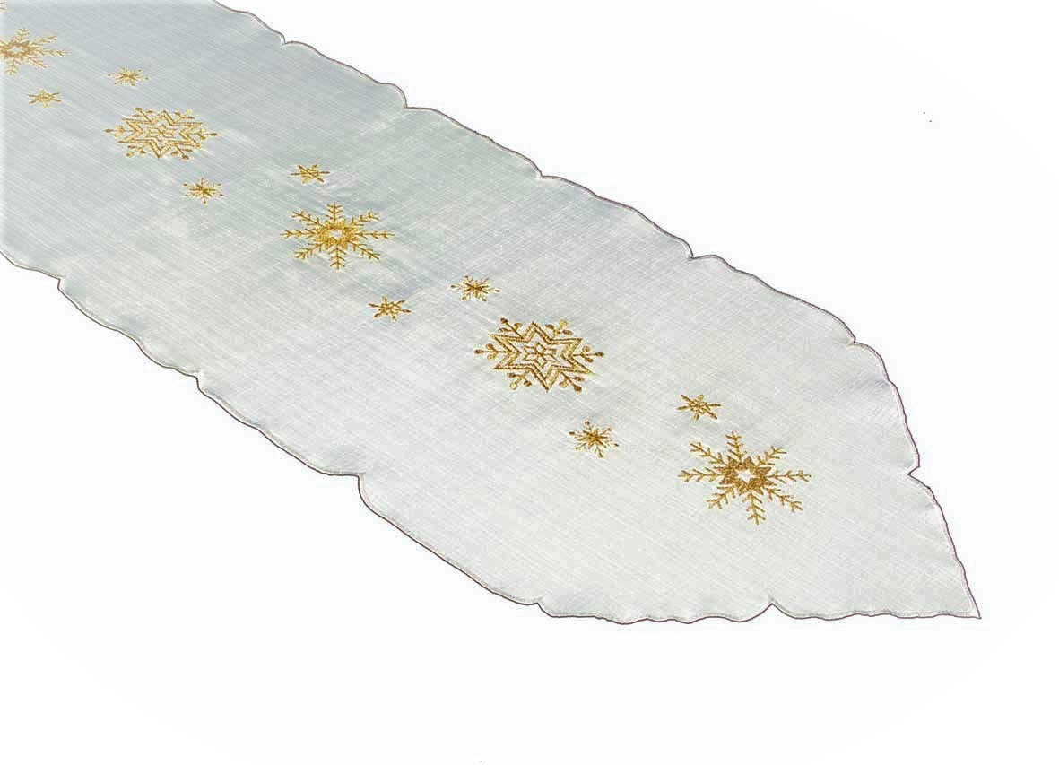 Gold Snowflake Embroidered Gold Snowflakes On Cream
