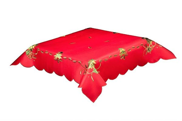 Red Christmas Tablecloth in a 35 x 35 inch square