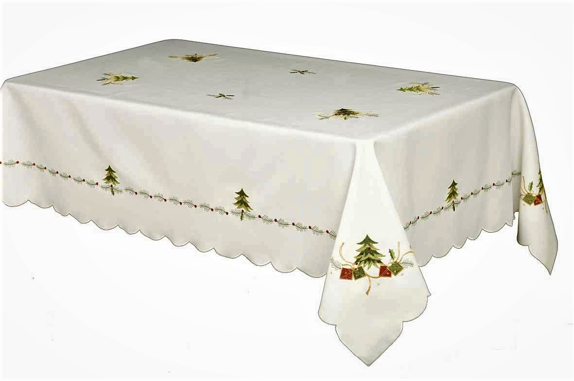 Spruce Embroidered Tree Amp Gifts Christmas Tablecloth Ivory