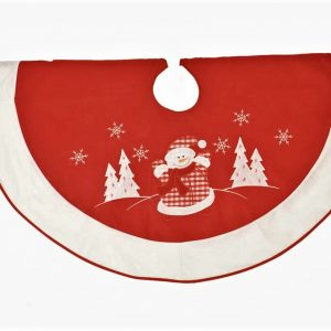 Snowman Christmas tree skirt in red and white felt