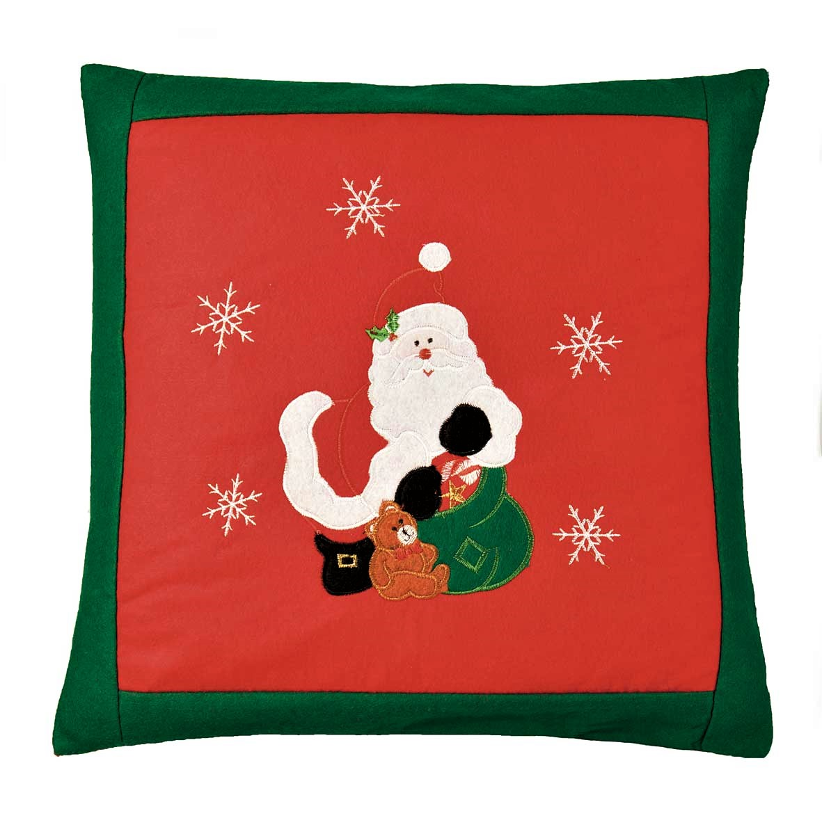 Santa Embroidered Christmas Cushion Cover Red 42x42cm