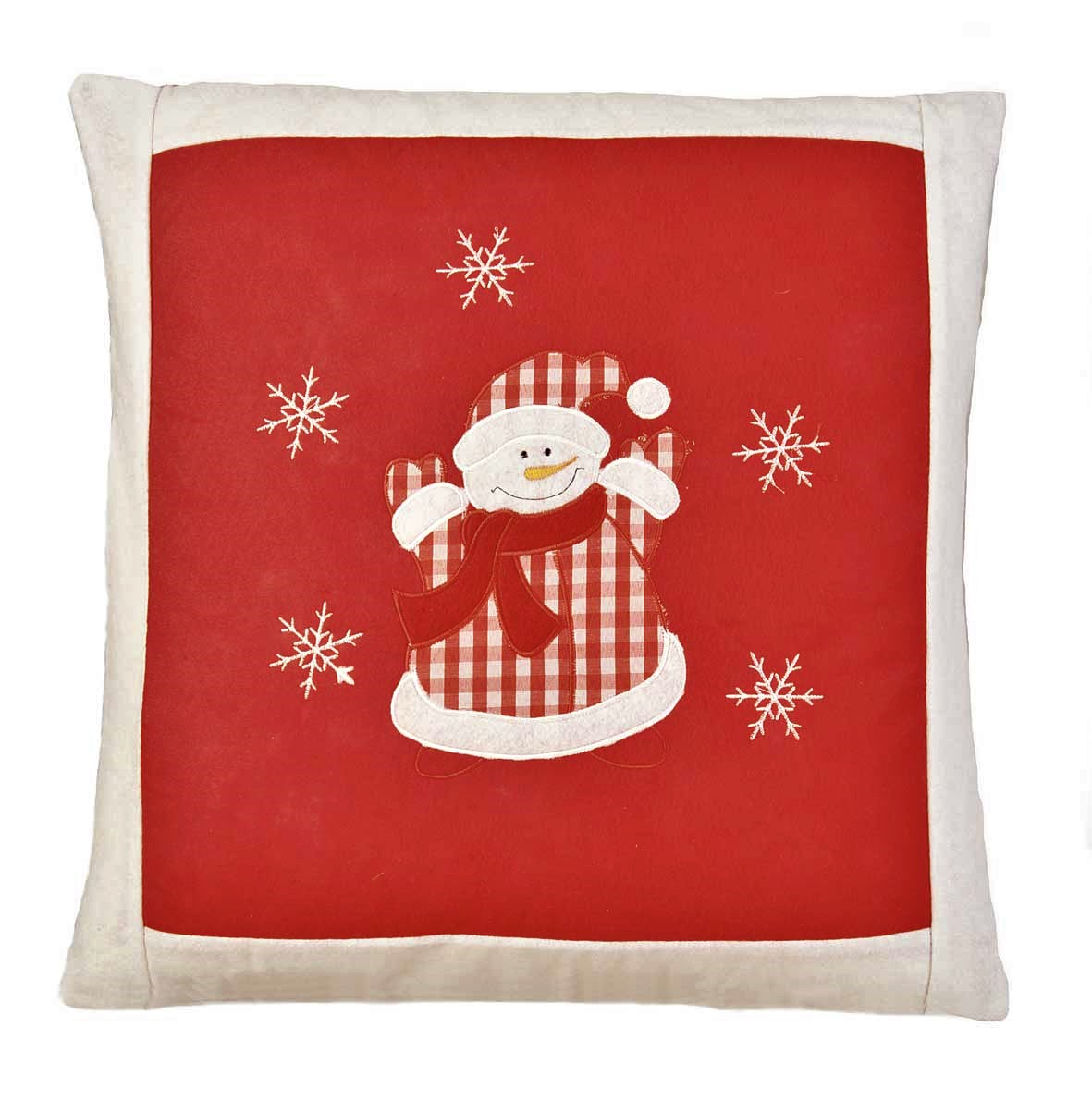 Snowman In Check Embroidered Christmas Cushion Cover Red 42x42cm 16x16 Square