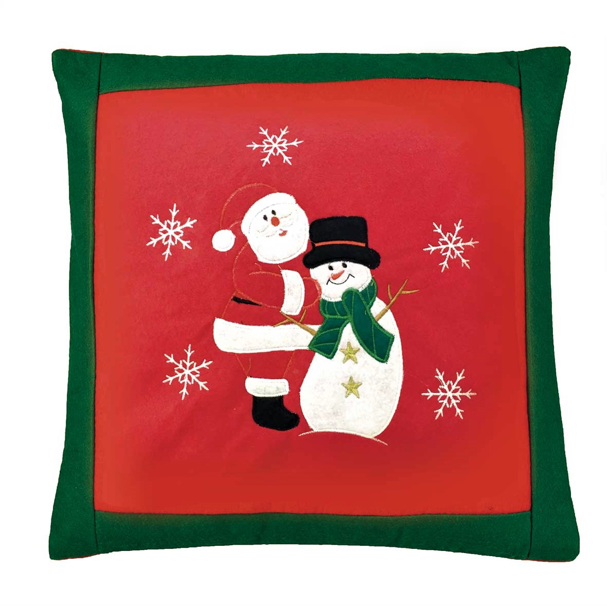 Santa And Snowman Embroidered Christmas Cushion Cover Red 42x42cm 16x16 Square