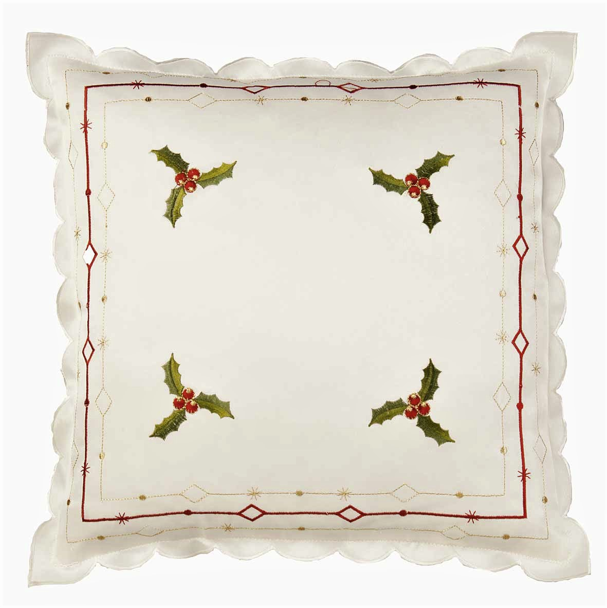 Holly cream cushion cover for Christmas