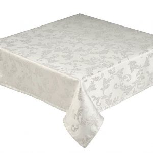 Jacobean Jacquard Silver Christmas Tablecloth 178x305cm
