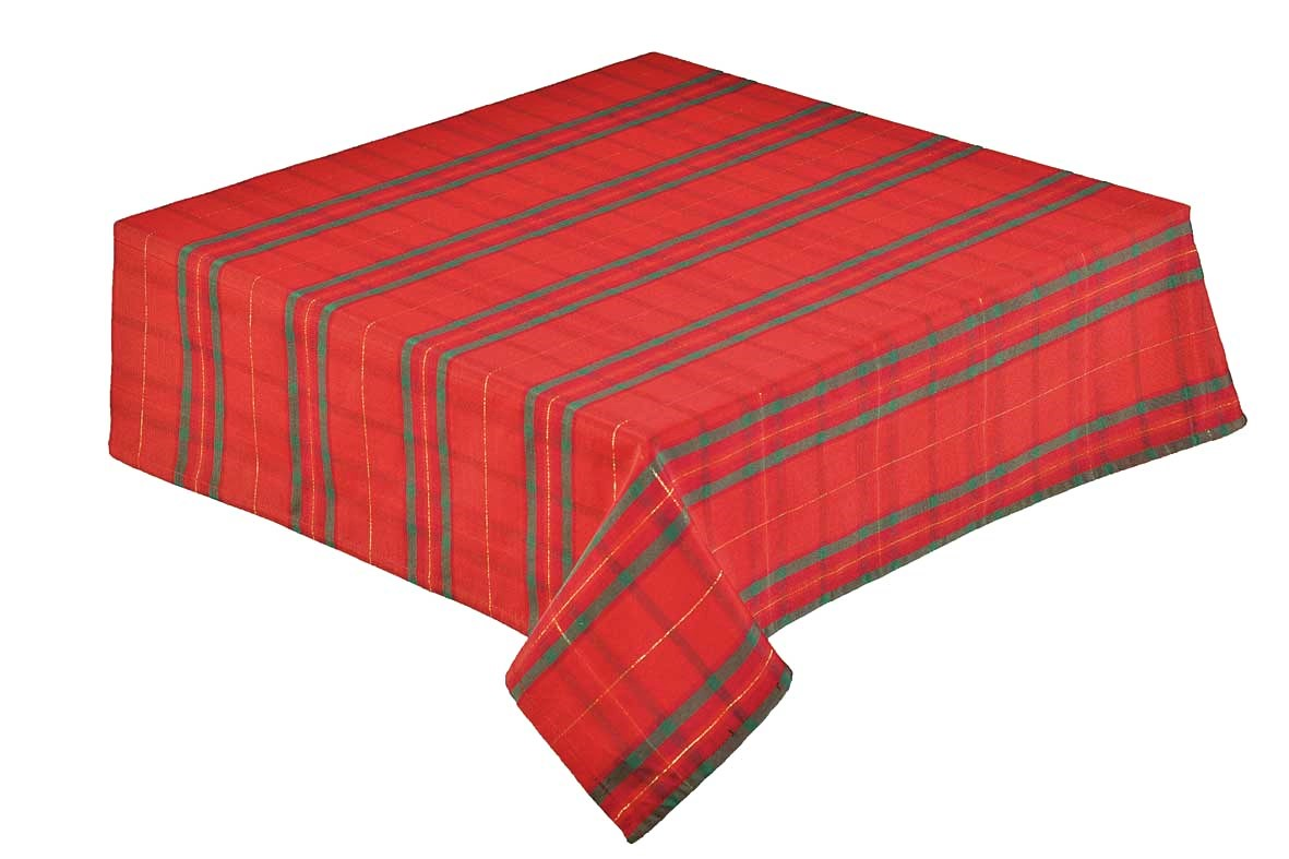 Tartan Check Woven Tablecloth Red 137x137cm (54x54 ...
