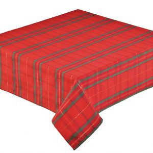 Red square tartan tablecloth