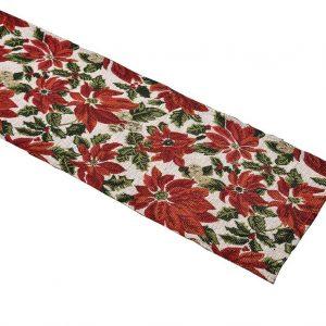 Poinsettia tapestry table runner