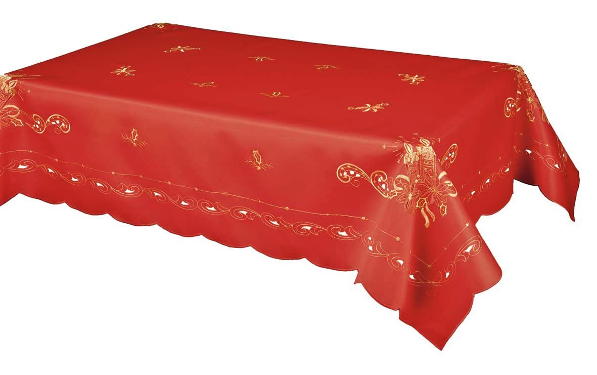 The lavish embroidered gold Christmas candle tablecloth