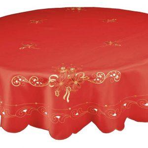 Lavish embroidered Christmas candle tablecloth