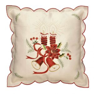 "Candles embroidered cushion cover in a 16 x 16"" Square"