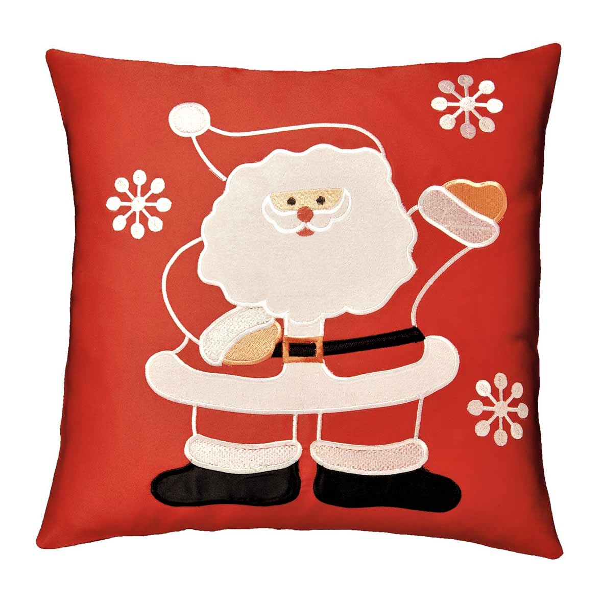 "Waving Santa cushion cover in a 16 x 16"" square"