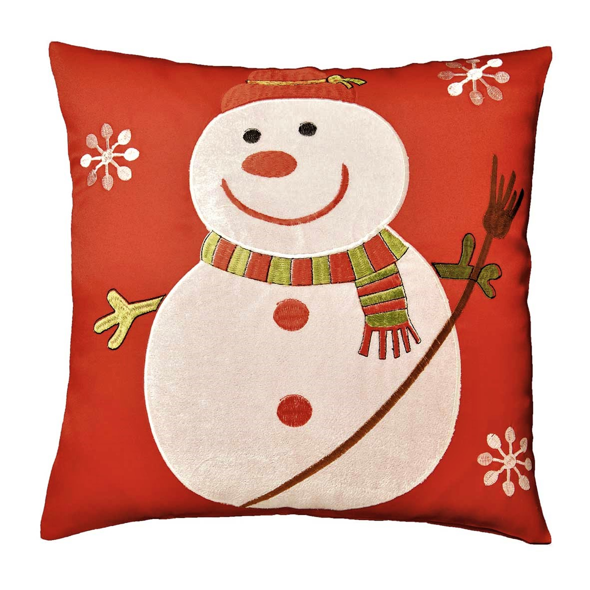 Snowman cushion cover in a 16 x 16 inch square