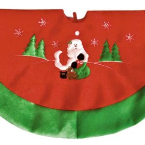 Santa Christmas tree skirt in red and green velvet