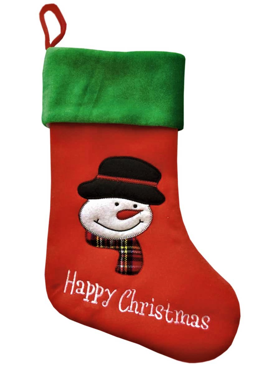 Snowman Happy Christmas Velvet Applique Stocking 38x20cm
