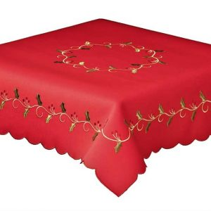 Red holly vine 137x137cm square and 4 napkins