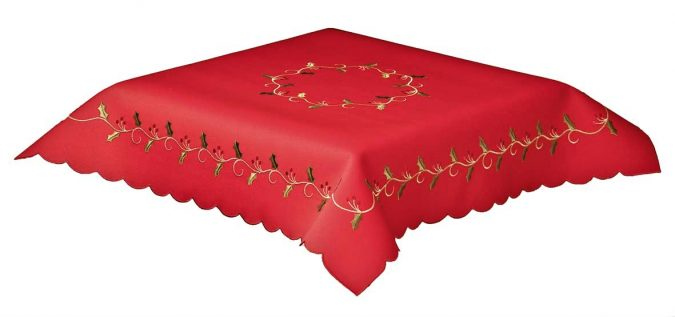 holly vine red tablecloth
