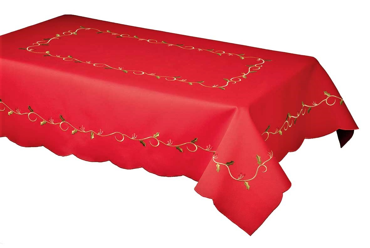 HOLLY VINES RED Embroidered Christmas Tablecloth 127x230cm Oblong