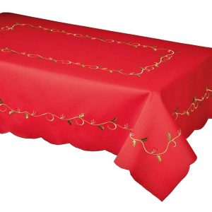 Red holly vine Christmas tablecloth in a 127x178cm + 4 napkins