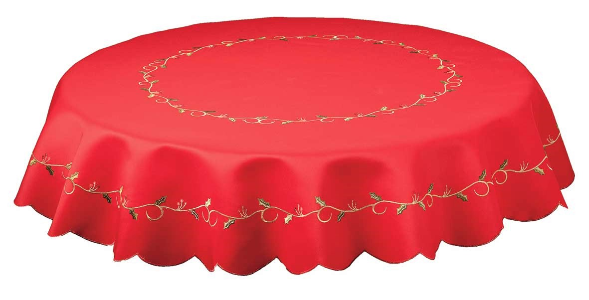 Holly vines red embroidered round christmas tablecloth