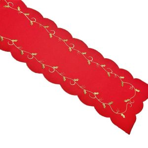Red Holly Table Runner in a 13 x 90 inch