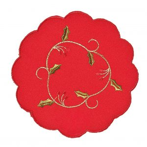 """Red vine 6"""" round embroidered Christmas mats"""