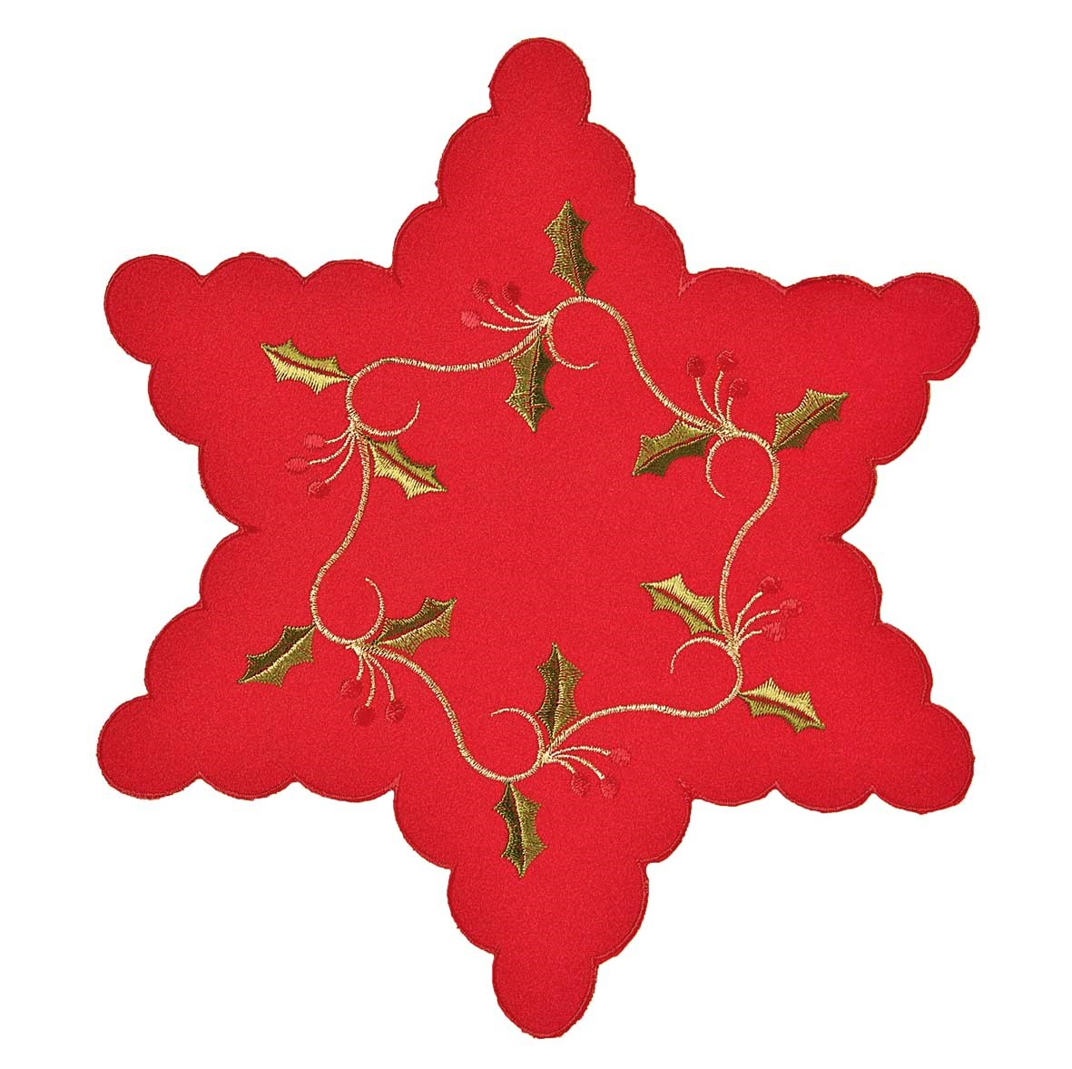 """Red holly 12"""" star embroidered mats for Christmas"""
