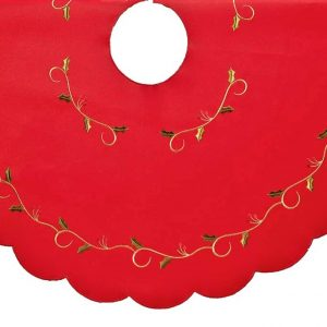 Red holly tree skirt embroidered vine design