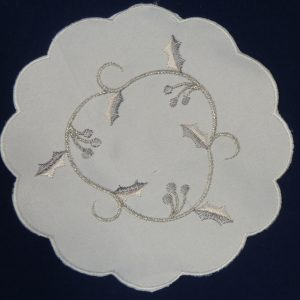 """A pair of Silver Vine 6"""" round mats"""