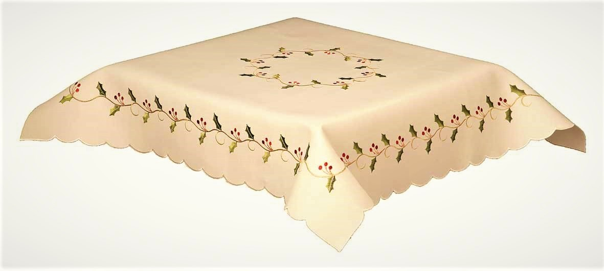 Holly vines cream embroidered christmas tablecloth