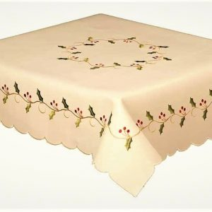 Holly vines cream round christmas tablecloth