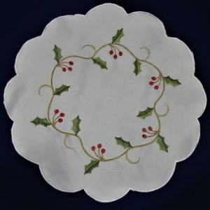"Holly vine 6"" round embroidered Christmas mats sold in pairs"