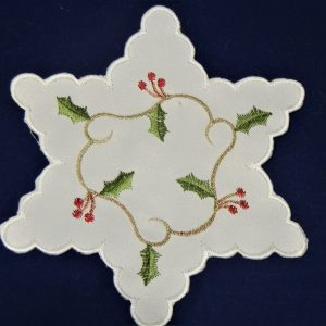 "Cream vine 6"" star embroidered mats in pairs"