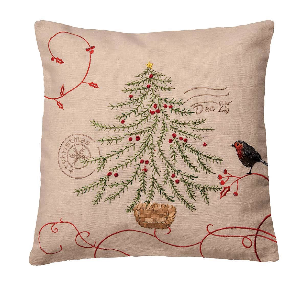Robin Amp Tree Postmark Christmas Cushion Cover 43x43cm