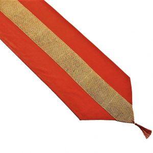 Red velvet table runner with gold sequin insert