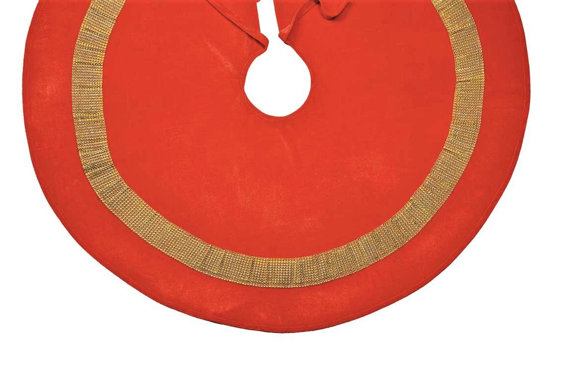 Velvet Bling Red Gold Diamond Sequin Christmas Tree Skirt 100cm Dia 39