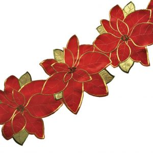 Poinsettia grande table runner in a 33x180cm length, ideal for Christmas