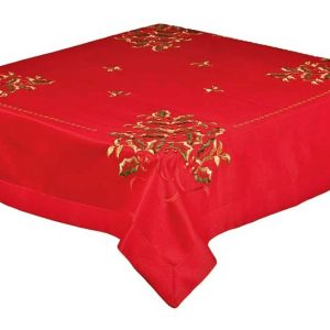 Holly Berry Red Tablecloth