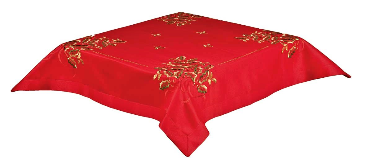 holly berry red embroidered christmas tree tablecloth 85x85cm 34x34 square easycare tablecloths - Square Christmas Tablecloth