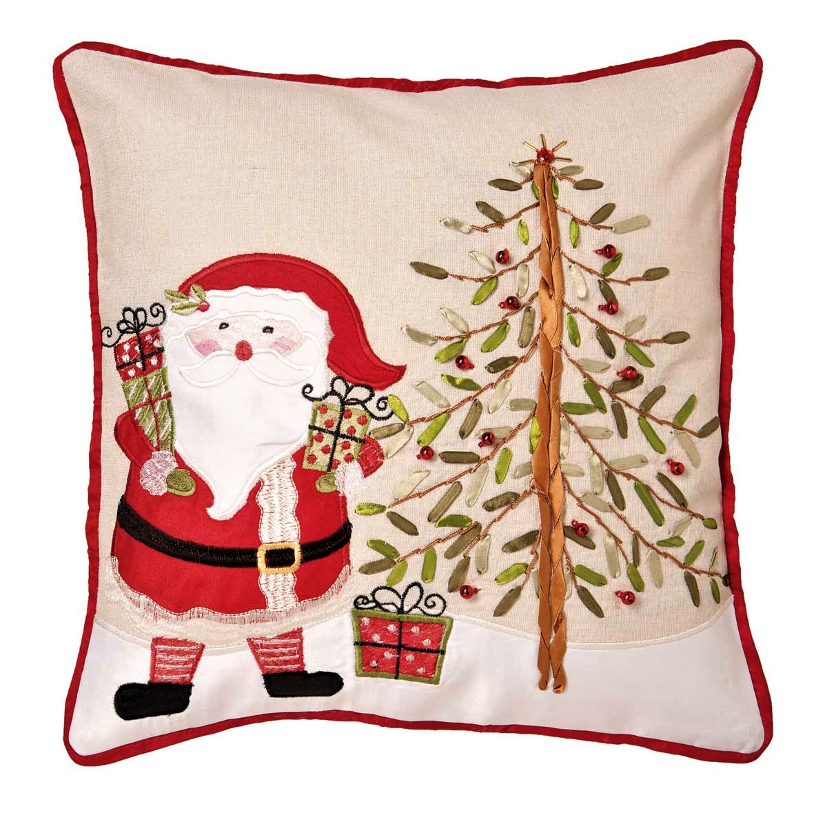 Santa And Tree Cushion Cover Embroidered Applique Ribbon Work 43x43cm 16x16 Square