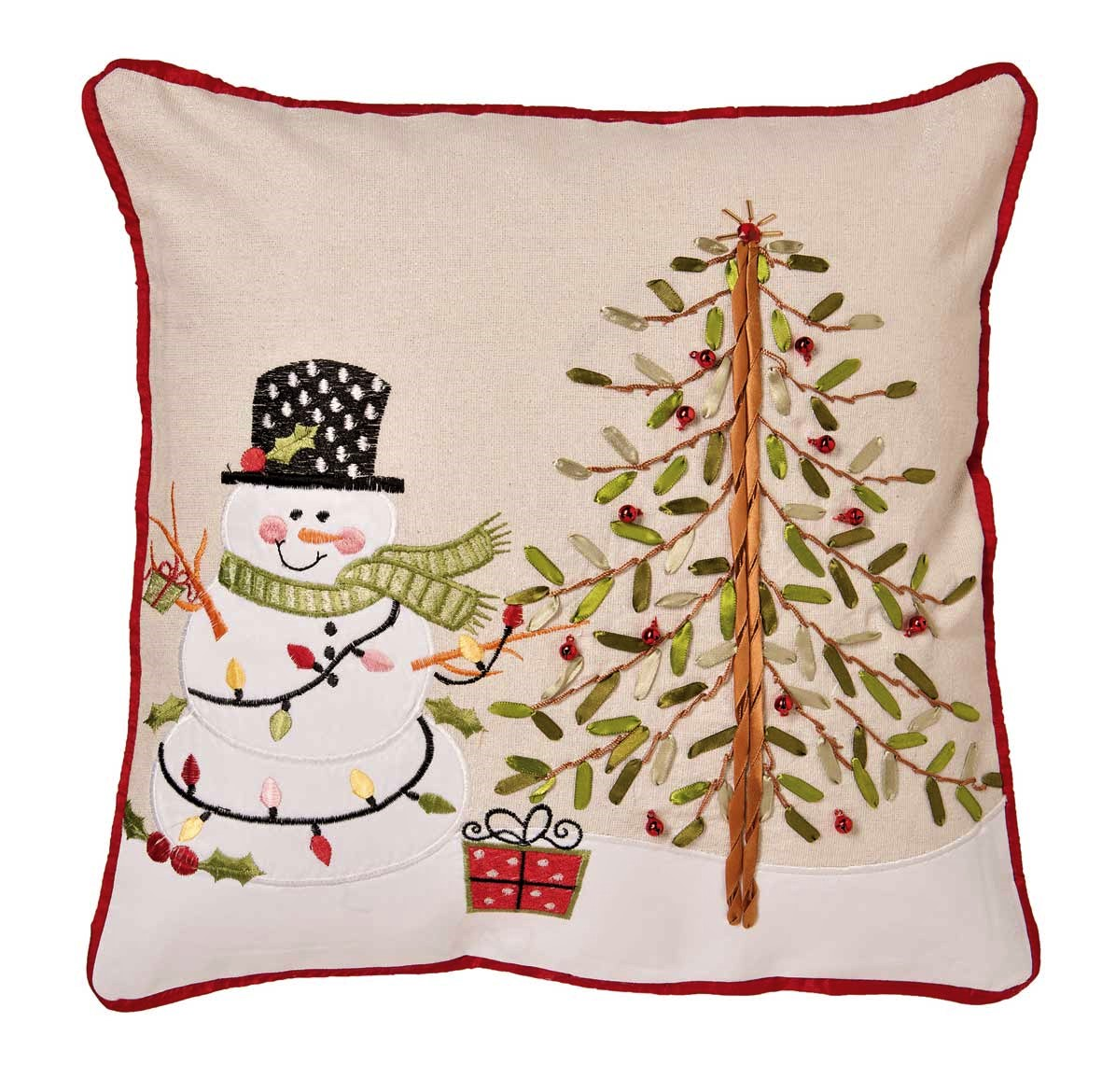 Snowman And Tree Cushion Cover Embroidered Applique Ribbon Work 43x43cm 16x16 Square
