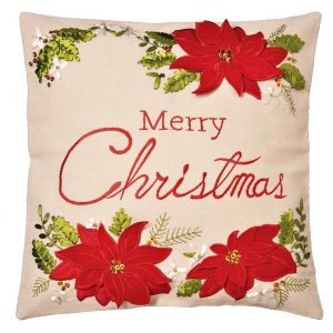 Christmas Poinsettia Cushion Cover in a 16 x 16 inch square